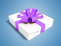 Gift in white paper with a bow purple and ribbons 3d render on a. Gift for a holiday, a gift for the new year, a gift for an anniversary, a gift in a paper Royalty Free Stock Photos