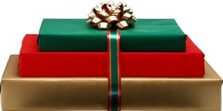 Gift in holiday paper royalty free stock image