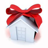Gift home. Gift  white home (done in 3d, isolated Royalty Free Stock Photo