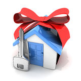 Gift home and key Royalty Free Stock Image
