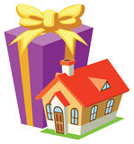 Gift and house. Vector illustration Royalty Free Stock Photos