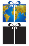 Gift icon with earth map. Present and ribbon with world planisphere, digital illustration icons Stock Images