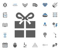 Jewish Holiday Hanukkah icons set. Vector illustration. Gift icon. Jewish Holiday Hanukkah icons set. Vector illustration Royalty Free Stock Photo
