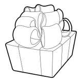 Gift icon, outline style Stock Photos