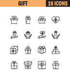 Gift icon set. Gift flat icon set. Collection of high quality outline symbols for web design, mobile app. Gift  thin line icons or logo Royalty Free Stock Image