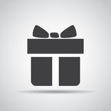 Gift icon with shadow on a gray background. Vector illustration Royalty Free Stock Image