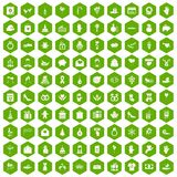 100 gift icons hexagon green. 100 gift icons set in green hexagon isolated vector illustration Stock Photos
