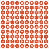 100 gift icons hexagon orange Royalty Free Stock Photography