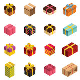 Gift icons and Present boxes in isomertic style. Vector illustration. Elements for illustration, infographics, logos and banners Stock Photography