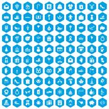 100 gift icons set blue. 100 gift icons set in blue hexagon isolated vector illustration Royalty Free Stock Photography