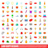 100 gift icons set, cartoon style. 100 gift icons set in cartoon style for any design vector illustration Royalty Free Stock Images