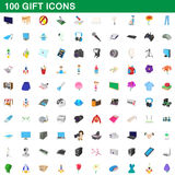 100 gift icons set, cartoon style. 100 gift icons set in cartoon style for any design vector illustration stock illustration