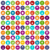 100 gift icons set color. 100 gift icons set in different colors circle isolated vector illustration Royalty Free Stock Images