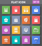 Gift Icons set in flat style with long shadows. Royalty Free Stock Photography