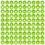 100 gift icons set green circle. Isolated on white background vector illustration Royalty Free Stock Image