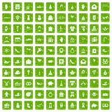 100 gift icons set grunge green Stock Image
