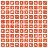 100 gift icons set grunge orange. 100 gift icons set in grunge style orange color isolated on white background vector illustration Royalty Free Stock Photos