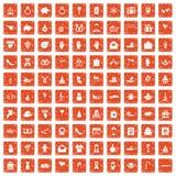 100 gift icons set grunge orange. 100 gift icons set in grunge style orange color isolated on white background vector illustration stock illustration