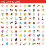 100 gift icons set, isometric 3d style. 100 gift icons set in isometric 3d style for any design vector illustration royalty free illustration