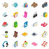 Gift icons set, isometric style. Gift icons set. Isometric set of 25 gift vector icons for web isolated on white background Stock Photo