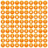 100 gift icons set orange. 100 gift icons set in orange circle isolated on white vector illustration Royalty Free Stock Photo