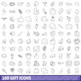 100 gift icons set, outline style. 100 gift icons set in outline style for any design vector illustration Royalty Free Stock Photo
