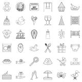 Gift icons set, outline style. Gift icons set. Outline style of 36 gift vector icons for web isolated on white background Royalty Free Stock Photo