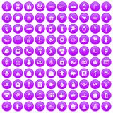 100 gift icons set purple. 100 gift icons set in purple circle isolated on white vector illustration Royalty Free Stock Photos