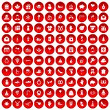 100 gift icons set red. 100 gift icons set in red circle isolated on white vector illustration Stock Photo