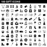 100 gift icons set, simple style. 100 gift icons set in simple style for any design vector illustration Stock Photos
