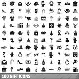 100 gift icons set, simple style. 100 gift icons set in simple style for any design vector illustration Stock Images