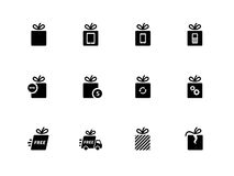 Gift icons set on white background. Royalty Free Stock Photos