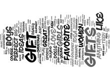 Gift Ideas For Christmas Word Cloud Concept Stock Image