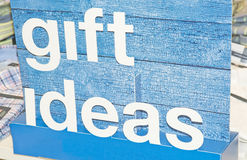 Gift ideas ; message on a blue board. Royalty Free Stock Photos