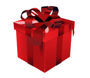 Red gift box with red bow. Red gift box (containing a present)  with matching lid and tied with elaborate bows using red ribbon, white background Stock Photo