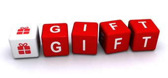 Gift illustration. An illustration of cubes with an icon of a wrapped present and letters forming the word 'gift Stock Photos