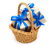 Gift In Basket Royalty Free Stock Photos