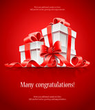 Gift In Box With Red Ribbon And Bow Royalty Free Stock Image