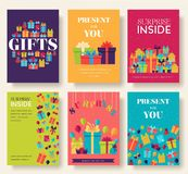 Gift information cards set. Surprise template of flyear, magazines, posters, book cover, banners. Box infographic. Concept background. Layout illustrations vector illustration