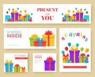 Gift information cards set. Surprise template of flyear, magazines, posters, book cover, banners. Box infographic. Concept background. Layout illustrations royalty free illustration