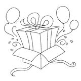 Gift inside another gift. Surprise! For birthday: a gift inside another gift! Coloring illustration stock illustration