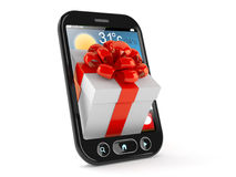 Gift inside smart phone Stock Photos