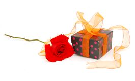 Gift isolated on white red rose Royalty Free Stock Image