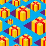 Gift isometric style pattern. festive ornament. Box Vector. Background Royalty Free Stock Photos