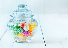 A gift jar of candies. Photograph of a beautiful jar full of assorted colorful candies, perfect for gift purpose Stock Photography
