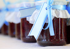 Gift jar of raspberry jam Royalty Free Stock Photo
