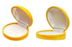 Gift jeweller box. Gift jeweller yellow open box Stock Image