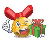 With gift Jinggle bell ball christmas on character royalty free illustration