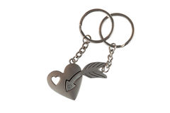 Gift key chain in a heart and arrow shape Stock Image