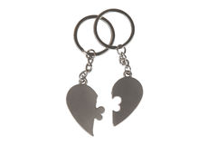 Gift key chain in a heart shape Stock Photos